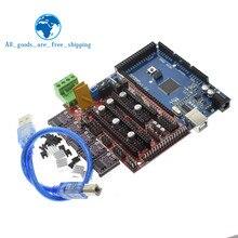 Tzt 3D Printer Mega 2560 R3 + Ramps 1.4 Bedieningspaneel + 5Pcs DRV8825 Stappenmotor Drive Carrier Reprap voor Arduino