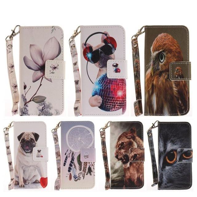 Cartera fundas de cuero con tapa para iPhone 5 De Apple 5S SE 6 6S 7 8 Plus Animal perro Lobo mono magnético cubierta bolsas D26Z