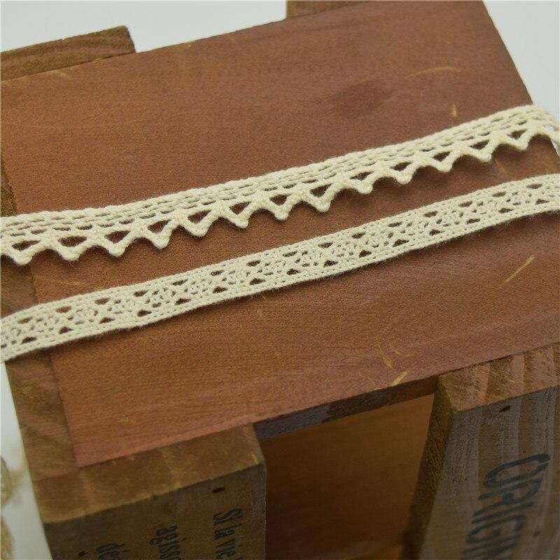500 yardas Vintage beige algodón Crochet borde encaje cinta apliques costura artesanías