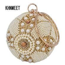 Design złota piłka torebki damskie srebrne zroszony perła Mini torebeczka torebka z łańcuszkiem Lady Wedding Bridal torebka wieczorowa kopertówka