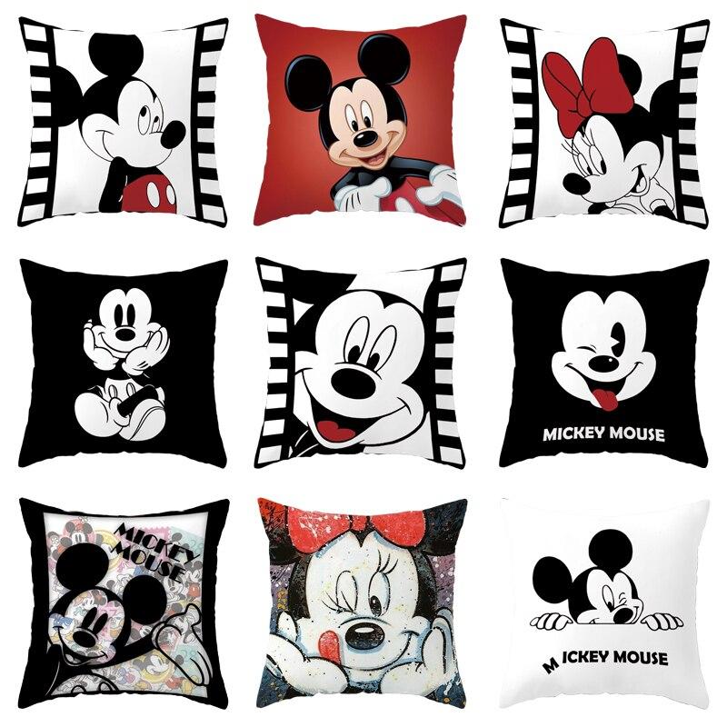 Funda de almohada blanco crema negro suave dibujos animados Mickey Minnie Mouse niños niñas fundas de almohada funda de cojín 45x45cm cama funda de cojín de sofá