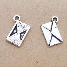 En vrac 30 alliage de Zinc Antique argent plaqué enveloppe charmes conception Simple pendentif en métal charme pour Bracelet 11*16mm 0.9g
