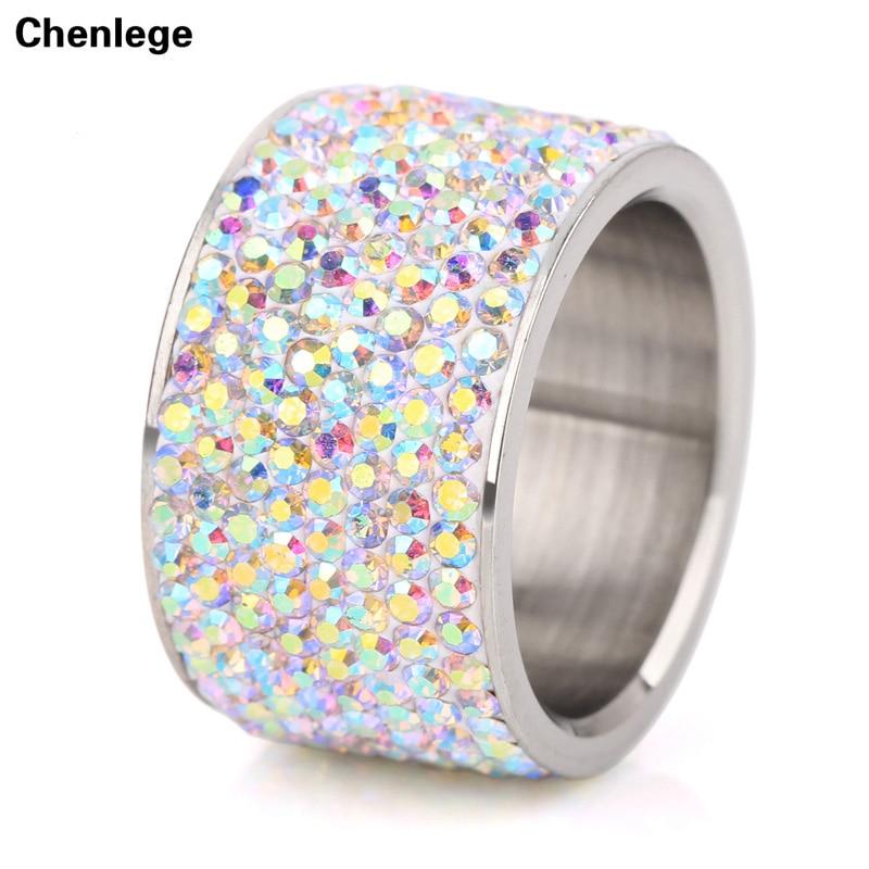 8 row multi mode weibliche edelstahl kristall hochzeit ringe für frauen hohe qualität AB + CZ stein party strass ringe