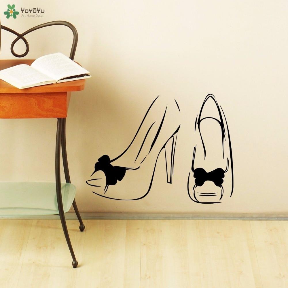 YOYOYU Wall Decal Vinyl Art Home Decoration Wall Decal Beauty Salon Woman Shoes Sticker Removeable Wall Poster Mural YO558