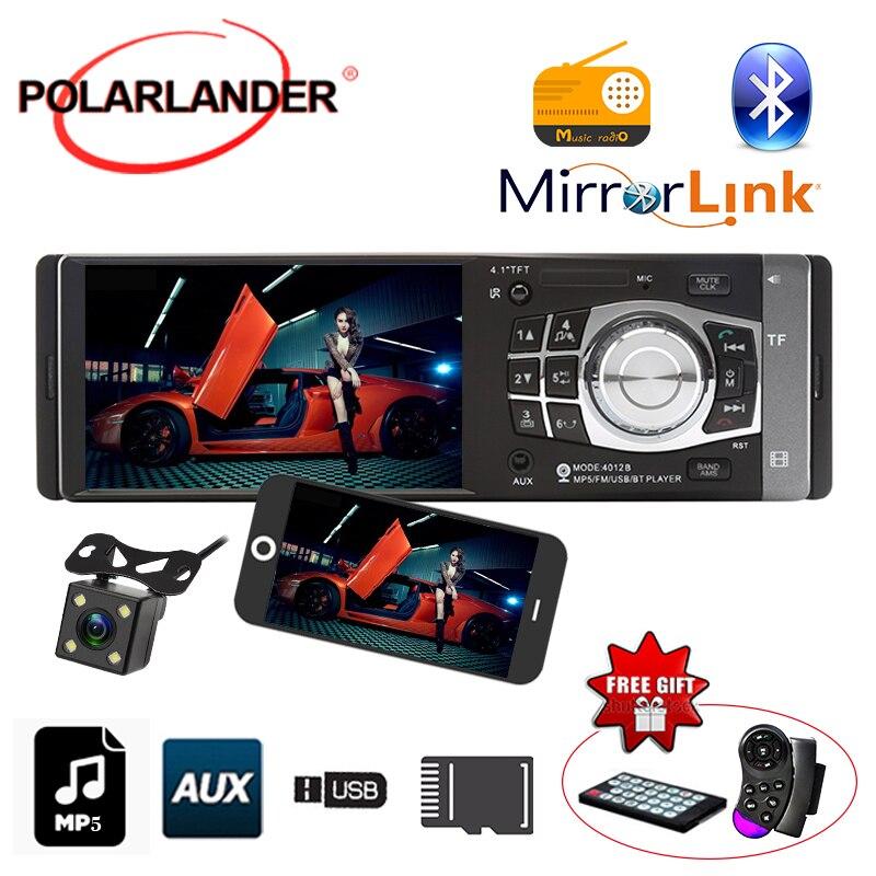 "Autoradio 4,1 ""1DIN/FM/USB/TF/AUX micrófono Bluetooth radio estéreo con cámara de coche MP5/MP4 radio cassette reproductor de Radio"