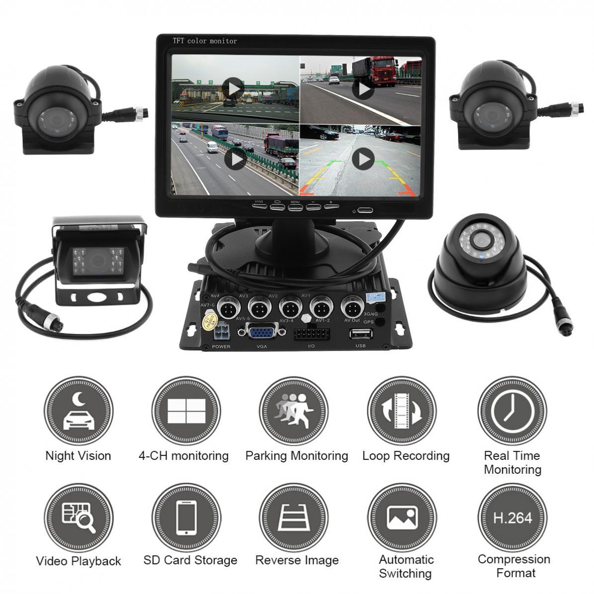 7-дюймовый четырехъядерный сплит-экран монитор 4x боковая Автомобильная ПЗС-камера заднего вида система для грузовика RV