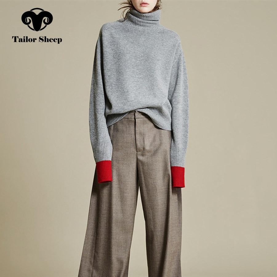 Europa US nuevo suéter de lana gruesa femenina de cuello alto flojo suéter de cachemira mujeres empalme mangas Joker pullover