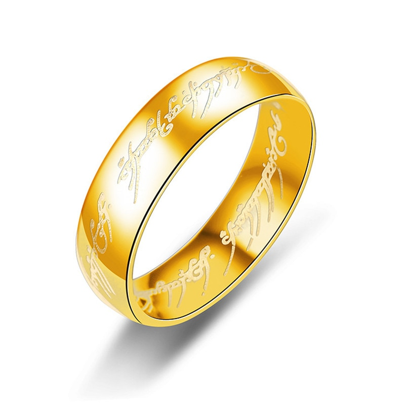 Hobbit кольца с буквами черные кольца из нержавеющей стали Властелин титановые мужские кольца 6 мм свадебные кольца для влюбленных подарки 8RD09