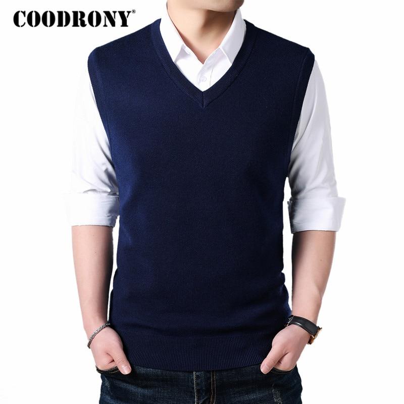 COODRONY, chaleco clásico sin mangas con cuello en V, suéter de lana de Cachemira para hombre, ropa de otoño invierno 2018, Jersey Casual para hombre 8145