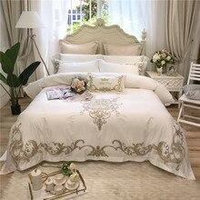 Ensemble de literie en coton égyptien 4/7 pièces   Blanc rose, broderie dorée de luxe 80S, parure de lit taille roi reine, housse de couette, draps taies doreiller