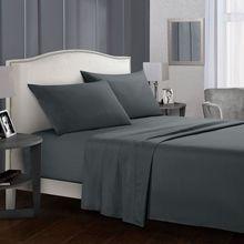 Ensemble de literie, draps de lit plats et courts   Drap-housse + taie doreiller reine/King taille, gris, doux et confortable, ensemble de lit blanc 69