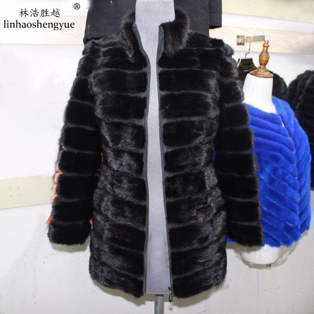 Linhaoshengyue    long 70cm  sleeve long 60cm fashion winter fur coat  Real fur mink fur women coat with5:2