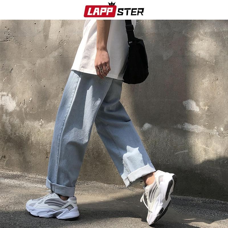 LAPPSTER Degli Uomini Dei Jeans Pantaloni 2020 Streetwear Pantaloni Denim Dei Jeans Del Mens Del Progettista Baggy Pantaloni Stile Harem Stile Coreano di Sesso Maschile Pantaloni In Denim