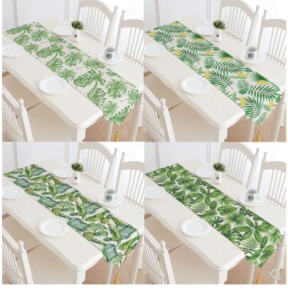 مفرش طاولة من الكتان القطني مع نبات استوائي حديث ، مفرش طاولة تلفزيون ، طاولة قهوة ، علم
