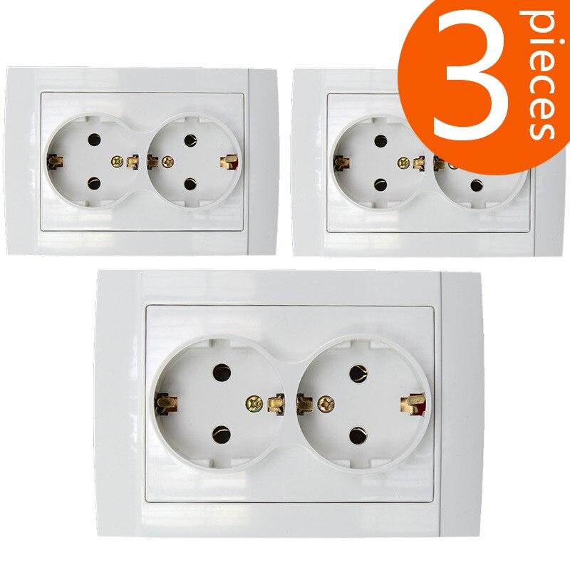 Toma de corriente de pared de doble toma de corriente de 118mm tipo europeo y alemán de 3 piezas, toma de corriente de material ABS con certificado CE, EU-8012
