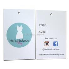 Gratis verzending kledingstuk swing tag/kleding hang tag/papier gedrukt tag/kleding aangepaste label/logo afdrukken 500 stks veel