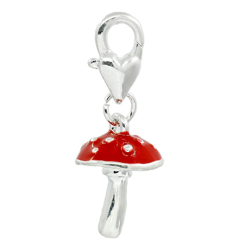 8SEASONS Clip On Charms Mushroom Silver color Enamel Red Fits Link Chain Bracelets 3x1.2cm,5PCs (B26839)