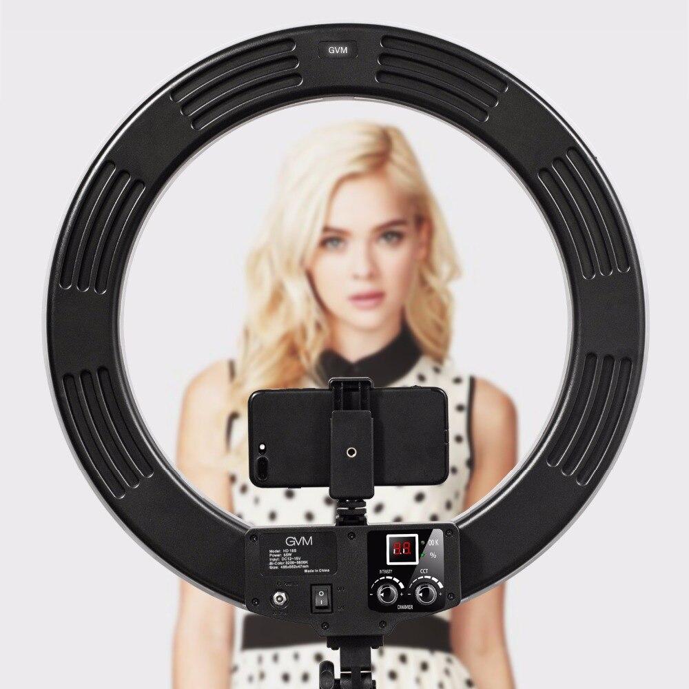 GVM Bi-farbe LED Ring Licht Mit Stand 3200K-5600K Dimmbare Video Ring Licht Für Make-Up youTube Fotografie Beleuchtung Kit 18 zoll