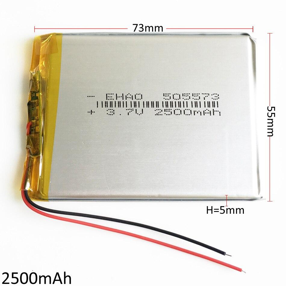 3.7 V 2500 mAh 505573 Bateria de Polímero de Lítio bateria Recarregável Lipo Células do Acumulador Para Banco De Potência E-book Tablet PC laptop