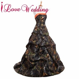 iLoveWedding Ball Gown Camo Wedding Dresses Strapless Sleeveless Lace Up Camouflage Appliques Bride Bridal Gowns Custom CA14