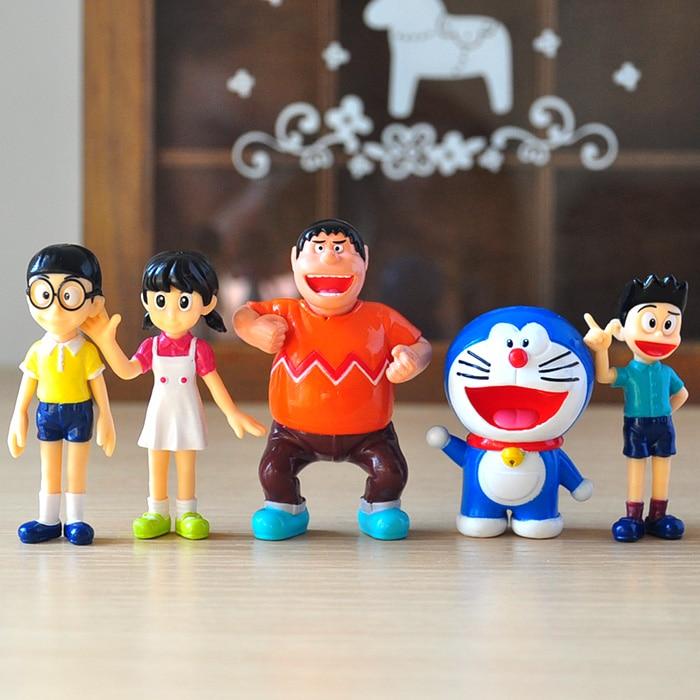 5 unids/lote de figuras de acción de Anime Kawaii Doraemon Nobita Nobi Minamoto Shizuka PVC juguete de modelos coleccionables muñeca regalo para niños