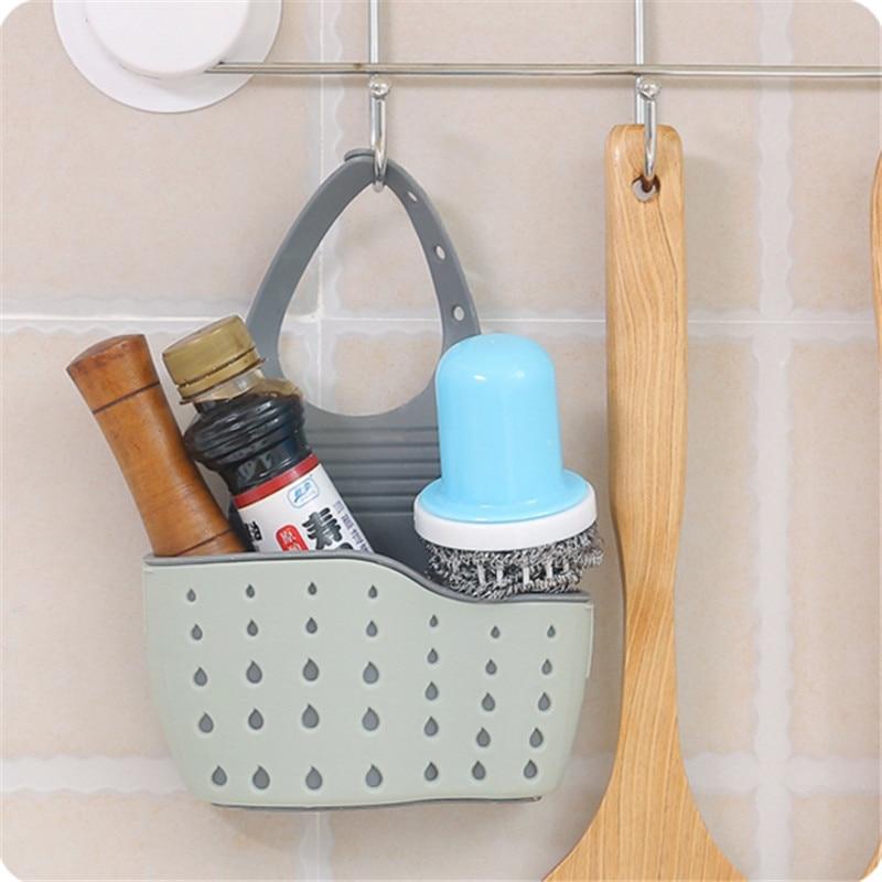 Útil ventosa estante de fregadero esponja de jabón escurrir estante ventosa para la cocina herramienta de almacenamiento blanco verde azul