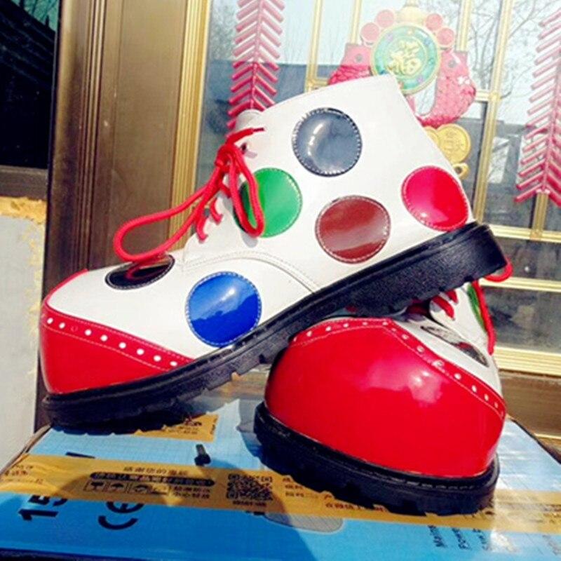 Zapatos de payaso de talla grande con lunares de nuevo estilo de 33cm, zapatos divertidos para adultos, zapatos bonitos para cosplay, accesorios para actuación, cosplay de halloween