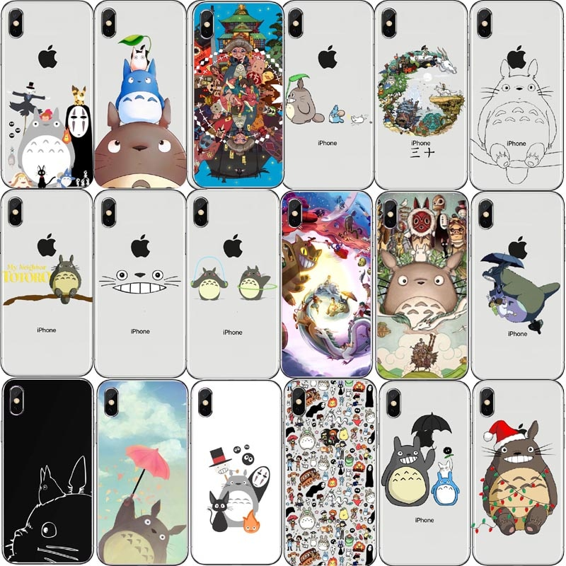 Bonito Totoro аниме Ghibli Миядзаки A Viagem de Chihiro Kaonashi Мягкий ТПУ Caso de Telefone Claro Para iPhone 7 8 Plus 6 5 Max 4