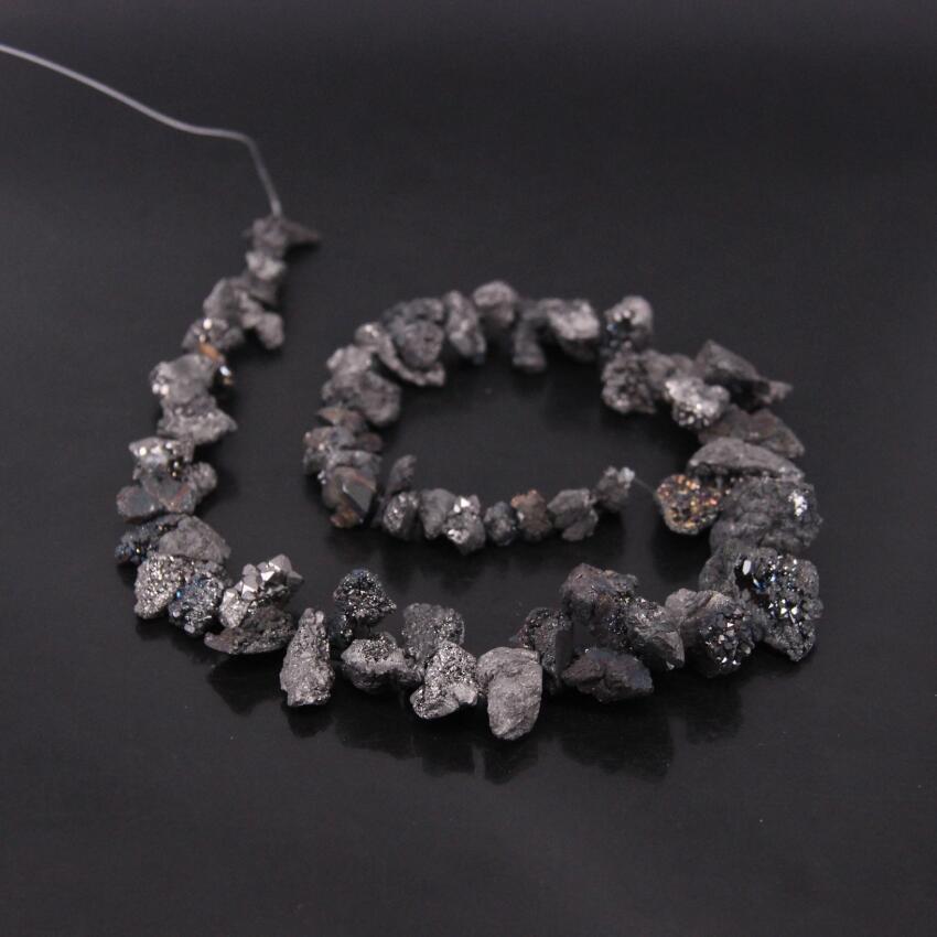 "15.5""Strand Gun Black Titanium Raw Crystal Druzy Drusy Agates Quartz Geode Rough Nugget Chips Beads For Pendants Jewelry Making"
