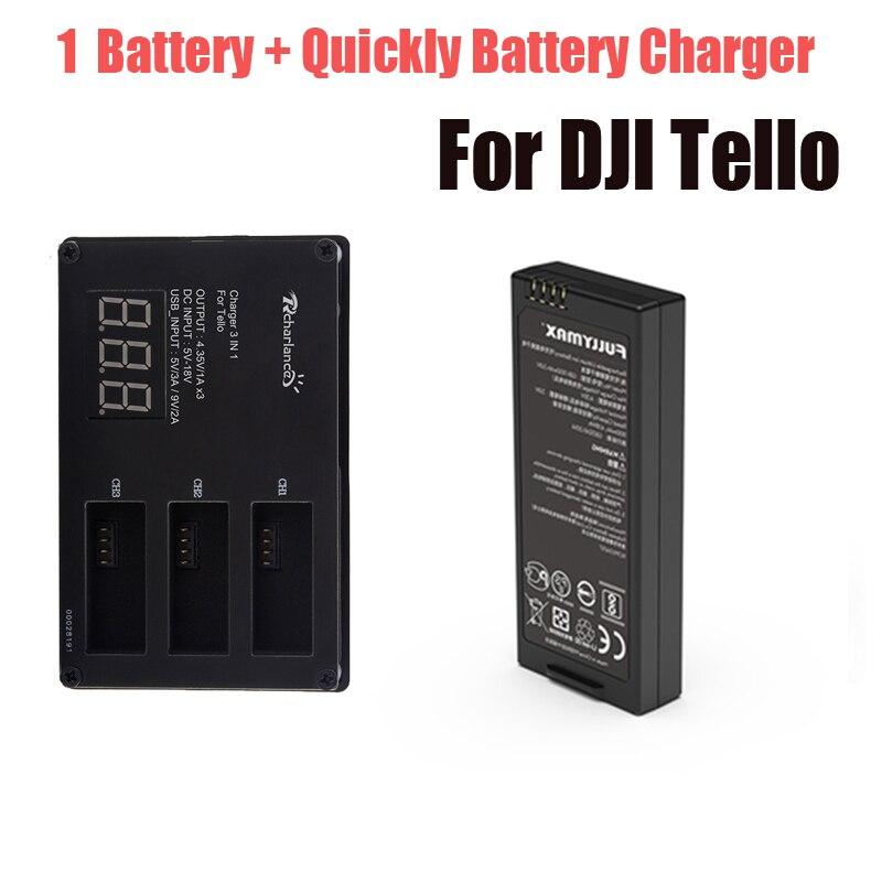 Для DJI Tello батарея Быстрая зарядка зарядное устройство + 1 шт. Lipo Tello летная батарея для концентратора Tello Drone аксессуары
