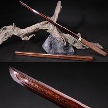 Hadmade Shirasaya damas acier plié   Tang Dao épée traditionnelle chinoise en bois de Rose, Scabbard Art Martial
