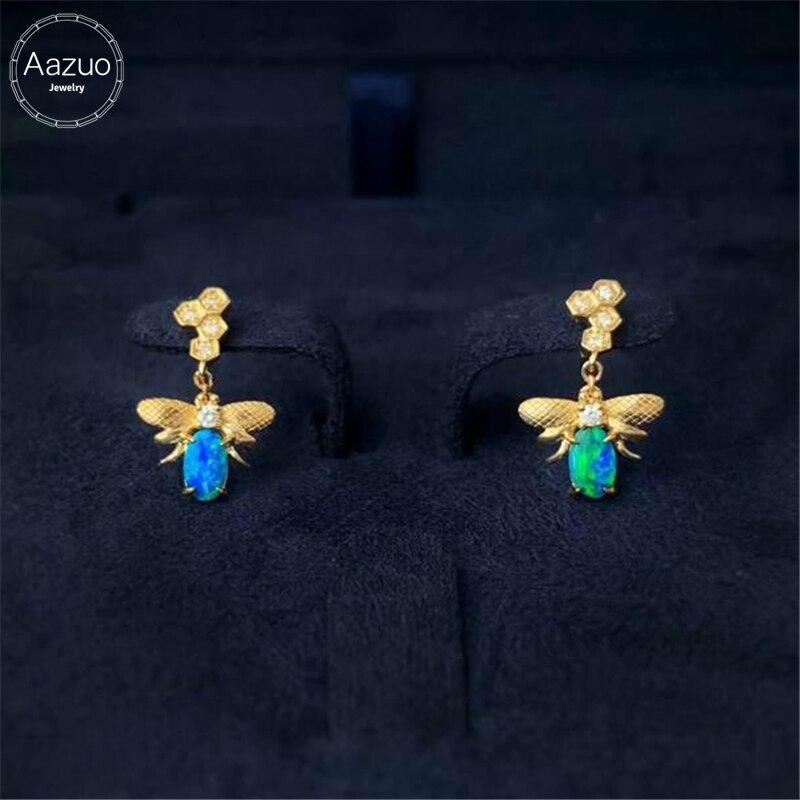 Aazuo-أقراط من الذهب الأصفر عيار 18 قيراط للنساء والفتيات ، أوبال أزرق طبيعي ، ألماس حقيقي ، خطوبة ، زفاف