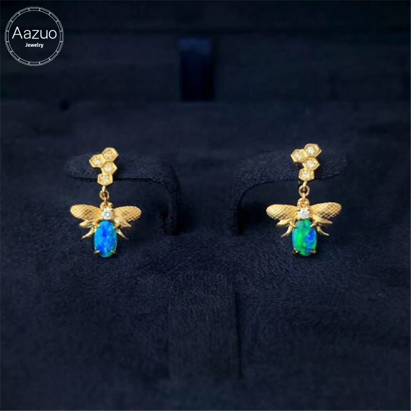 Aazuo 18K oro amarillo HoneyBee Natual azul ópalo Real pendiente de diamantes regalado para mujeres niñas compromiso boda