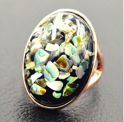 Anillo de dedo índice Retro exagerado moda coreana onda anillo femenino anillo negro Concha madre