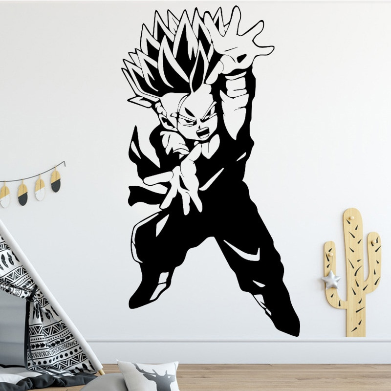 Removable Goku Super Saiyan Dragon Ball Wall Sticker Home Decor Room Interior Home Wall Decal Art Vinilos Wall Mural Adesivos