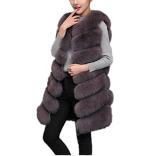 Lisa Colly 80cm Women Winter Coat jacket Warm new Import Faux Fur Vest Coat High-Grade Fur Vest Jack