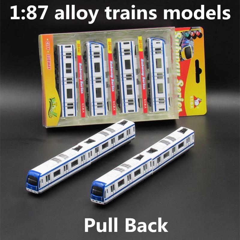 1 87 модели поездов из сплава, высокая симуляция модели транспорта метро, функция возврата, игрушечные машины, развивающие игрушки, бесплатн...