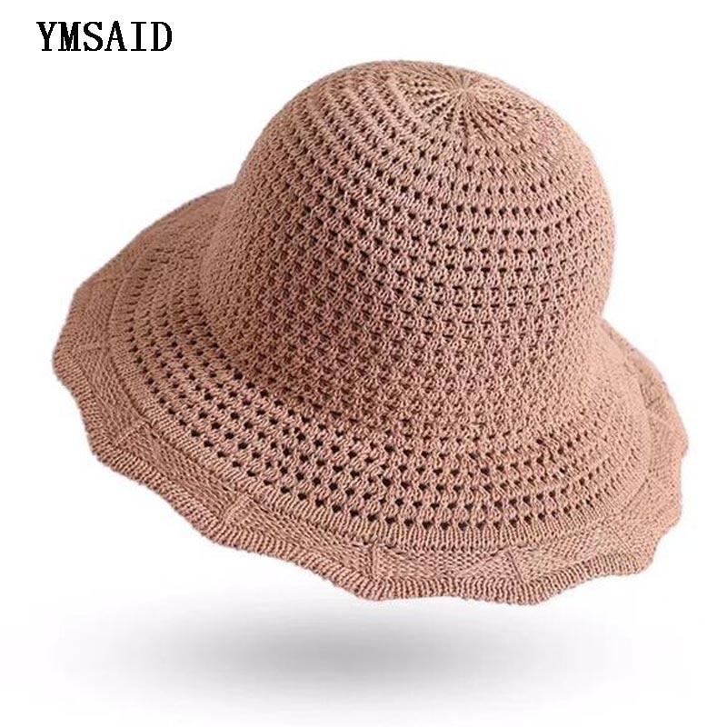 Ymsaid 2018 protetor solar feminino balde chapéu primavera verão malha crochê pescador panamá de alta qualidade algodão simples chapéus