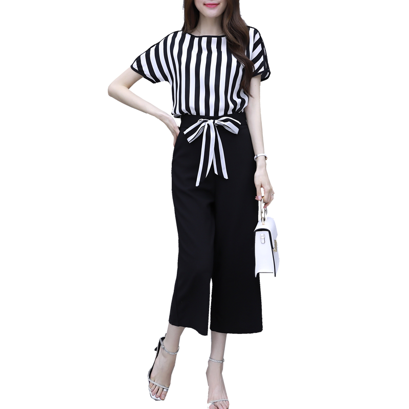 new summer wear Korean fashion chiffon stripe blouse top & wide-legged trousers two pcs casual women suits big size lady clothes