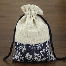 10x14 cm Katoen Sieraden Tassen 50 Stks Etnische Gift Bags Tribal Stam Trekkoord Tassen Kerst Sieraden Zakjes