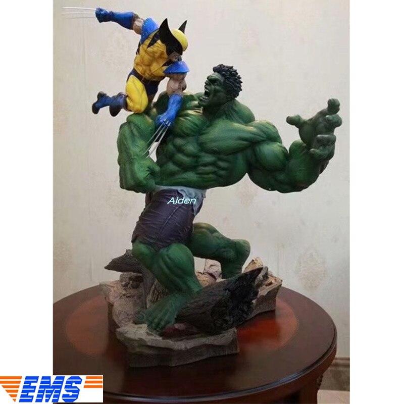 """14 """"vengadores Infinity War superhéroe estatua Wolverine VS Hulk busto completo retrato PVC figura de acción caja de juguete 36 CM Z311"""