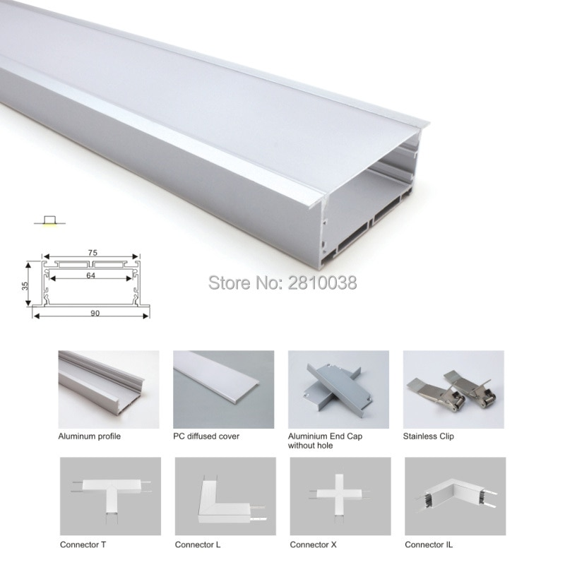 100 X 1M Sets/Lot factory supplier aluminum led channel and ultra wide U led aluminum profile for ceiling or wall lighting