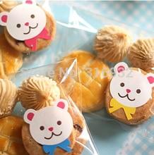 E2 Navidad oso de peluche colorido diseño animal sello de Papel Sellado adhesivo hornear paquete pastel caja decoración 450 unids/lote