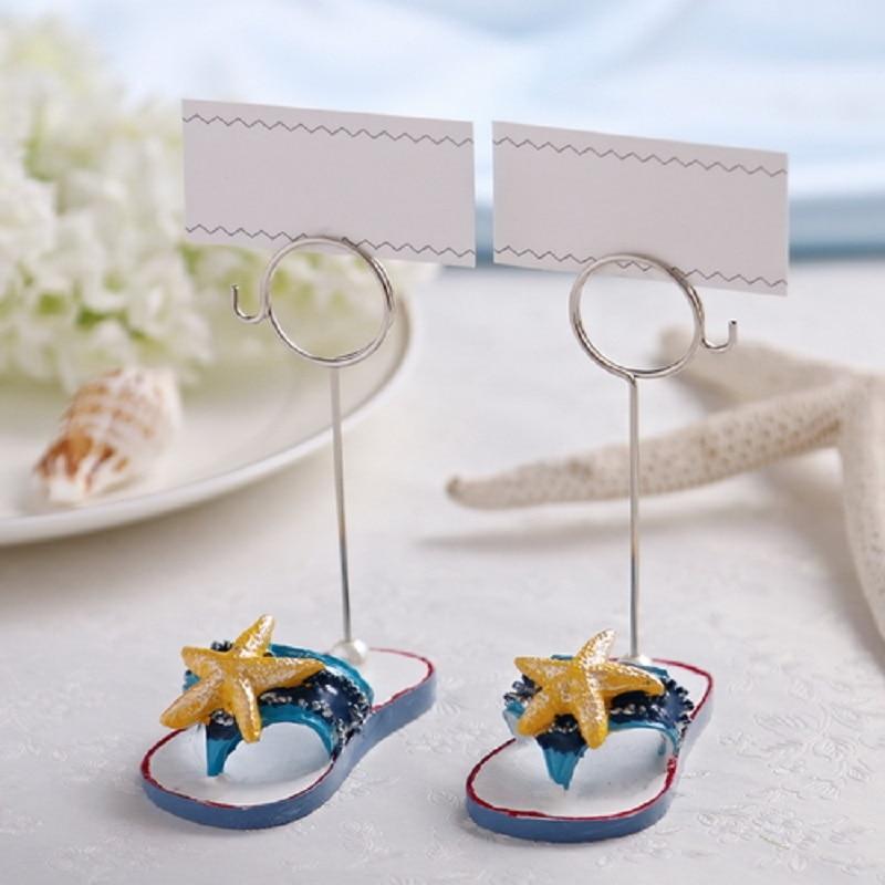 10 Uds. Zapatilla estrella de mar nombre Número menú Mesa lugar tarjeta titular Clip Recepción de fiesta de boda Favor