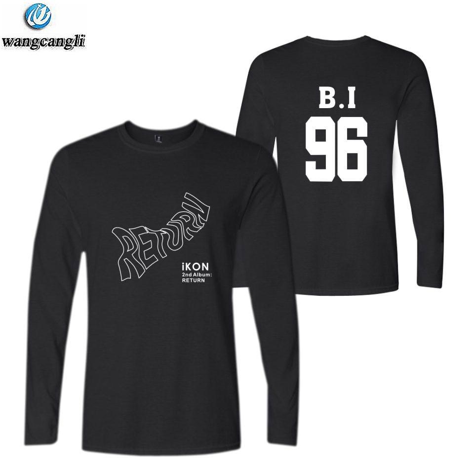 Ikon, camiseta de manga larga con nombre de miembro impreso, camiseta de manga larga, kpop, camiseta de verano para fans, camisetas