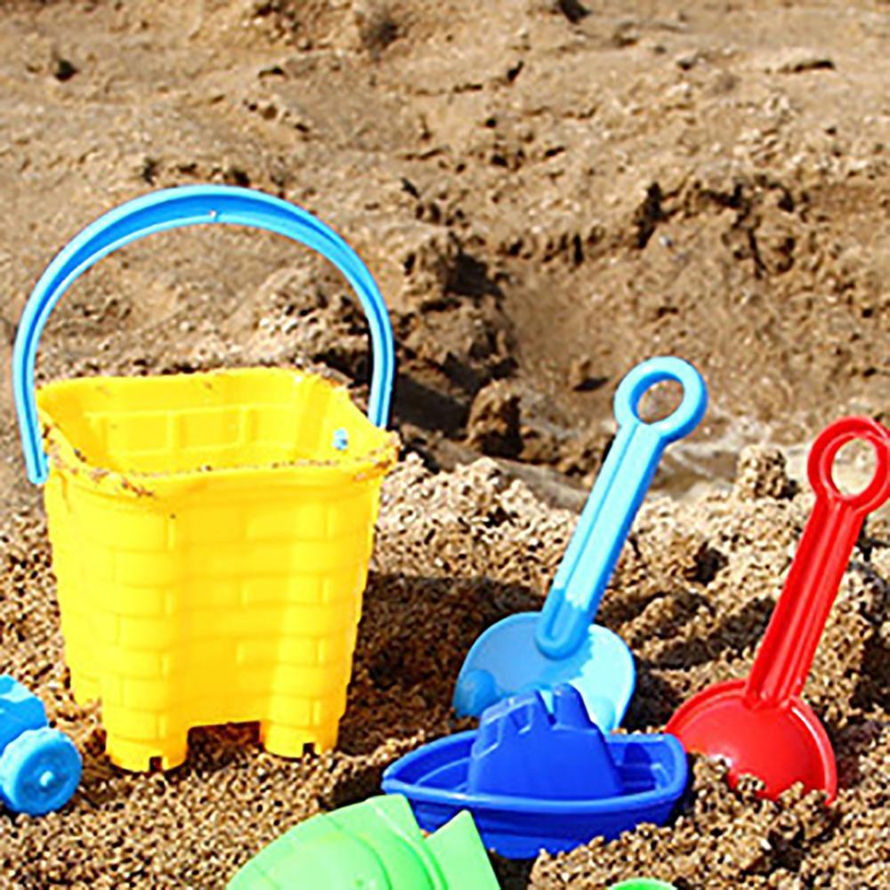 Soft  Kids Sand Beach Toys  For Children Outdoor Play And Fun Castle Bucket Spade Shovel Sandbox Rake Water Tools Set