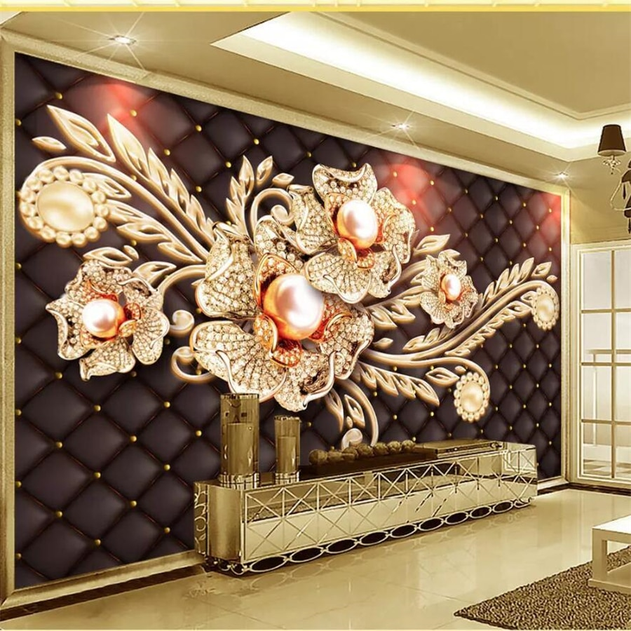 Papel tapiz personalizado Beibehang, murales de fotos en 3d, joyería Simple negra, diamante, perla, flor, estilo europeo, Fondo de TV, papel tapiz 3d