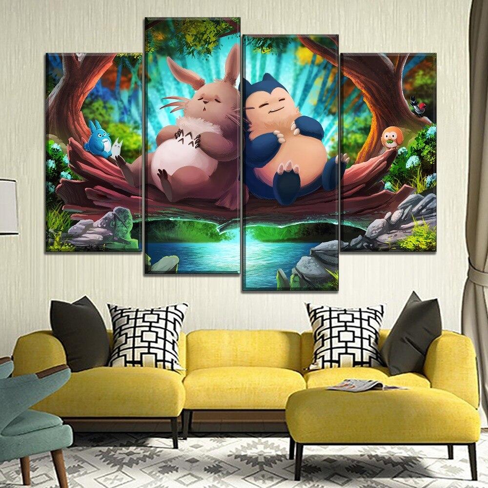Lienzo de Arte Moderno estampado tipo My Neighbor Totoro y dibujo de Pokémon película Poster decoración del hogar niños Pared de habitación 4 piezas estilo