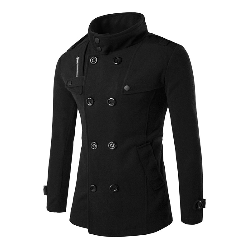 Мужское двубортное пальто, повседневное облегающее пальто в английском стиле, 2017