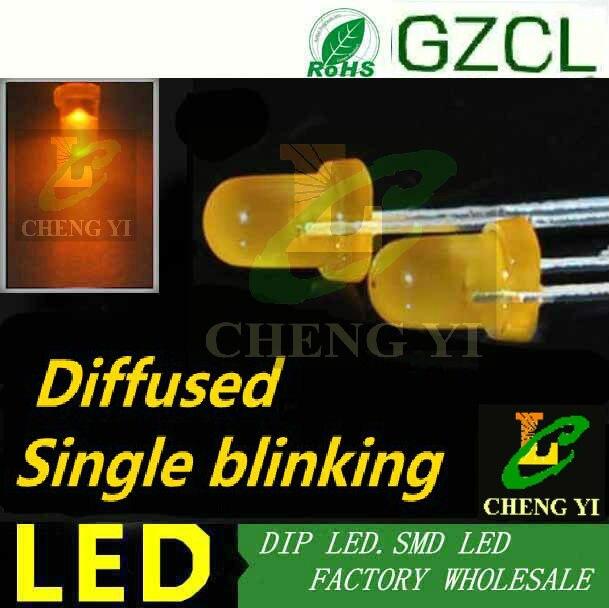 Laranja único led piscando 3mm rodada luz difusa diodo 600-610nm dip led 90 vezes/min flash lâmpada led